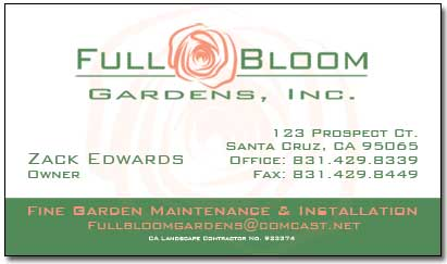 Full Bloom Gardens, Inc. – Business Card